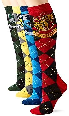 Harry Potter House Crests Argyle Juniors/Womens 4 Pack Knee High Socks