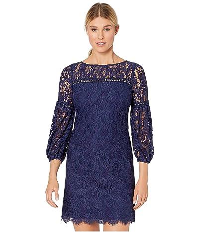 Vince Camuto Lace Shift Dress w/ Trim Detail (Navy) Women