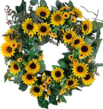 Huashen Artificial Sunflower Wreath Yellow Blossom Summer Wreath on Grapevine Base for Front Door with Green Leaves Farmhouse Wedding Wall Home Decor 24inch