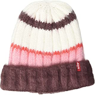 Levi's Women's Striped Knit Beanie Orejeras, Rosa, Talla única para Mujer