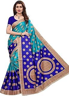 90def2fa9c Yashika women's art silk kalamkari and bhagalpuri style saree with blouse  piece and soft feel (