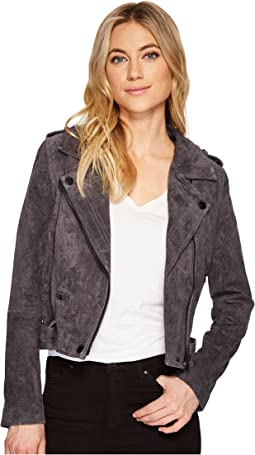 Grey Suede Moto Jacket in Star Gazer