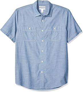 Amazon Essentials Men's Regular-fit Short-Sleeve Chambray Shirt