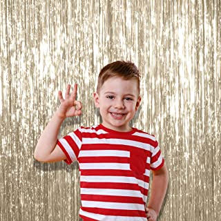 Pack of 3 Pale Champagne Metallic Tinsel Foil Fringe 3 x 8 Feet Curtains for Christmas New Year Eve Birthday Party Decoration Photo Booth Backdrop