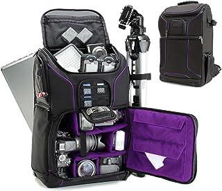 USA GEAR Mochila Completa para Cámara DSLR, Funda Resistente al Agua Compartimento para Portátil y divisores para Meter un Tripode, Objetivos, Compatible con Canon, Nikon, Sony y Muchas más - Púrpura