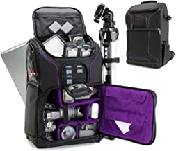 USA GEAR SLR Camera Backpack Case (Purple) - 15.6 inch Laptop Compartment, Padded Custom Dividers, Tripod Holder, Rain Cover, Long-Lasting Durability and Storage Pockets - Compatible with Many DSLRs