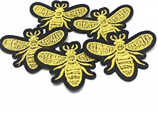 Silver/Gold Embroidered Sewing Iron on Bees Patches Sewing Patch for Clothes Applique Embroidery DIY Supplies Crafts Sticker Pack of 12 (Gold)