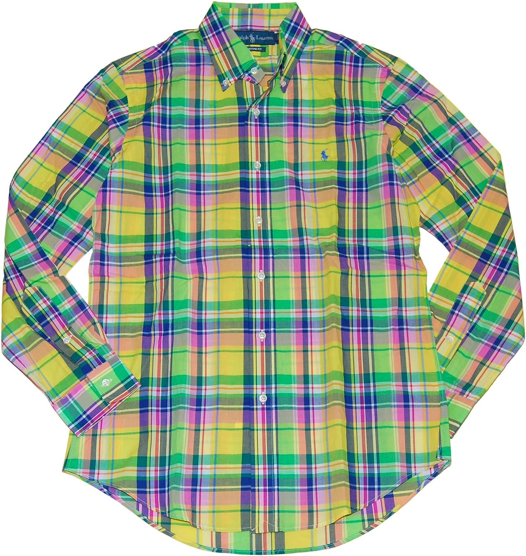 Ralph Lauren Polo Men Custom Fit Plaid Dress Shirt Yellow Pink Green Navy Small
