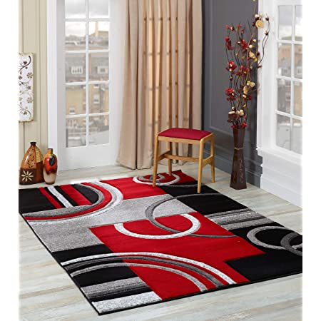 2305 Gray Black Red White Swirls 7 10 X 10 6 Modern Abstract Area Rug Carpet Furniture Decor