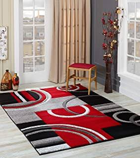 Golden Rugs Soft Hand Carved – Modern Contemporary Floor Rug with Premium Fluffy Texture for Indoor Living Dining Room and Bedroom Area (5x7, Black Red)