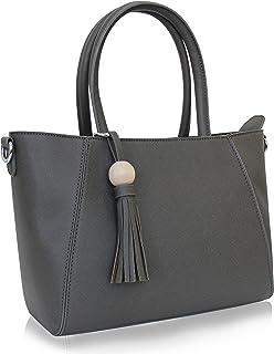 (grey) - Vanessa & Melissa (Farbauswahl) Damen Handtasche TUV GEPRUFTES PU-Leder Henkeltasche 2018 Tasche