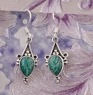 Pendientes de pera malaquita, pendientes de gota, pendientes de plata esterlina 925 para regalo de mujer Sterling Silver Drop Earrings