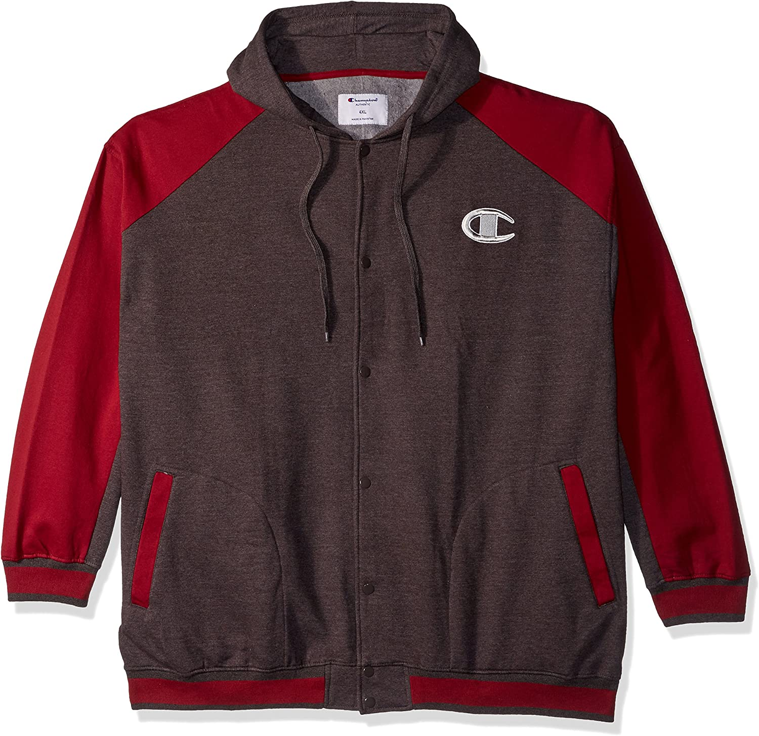 Champion Mens Snap Front Fleece Hoodie Warm Up or Track Jacket