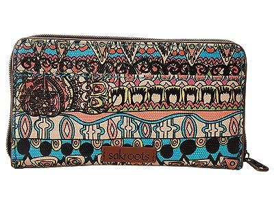 Sakroots Artist Circle Large Zip Around Wallet (Aqua One World) Wallet Handbags