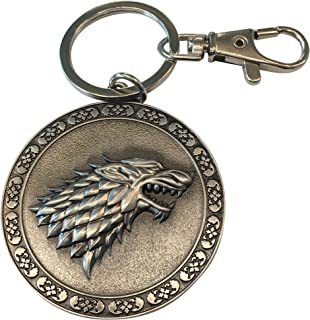 Game of Thrones Keychain - GoT House Stark Key Holder - Collectible Sigil Dire Wolf Logo Metal Keyring Pendant