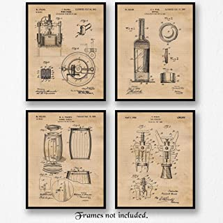 Original Wine Patent Art Poster Prints, Set of 4 (8x10) Unframed Photos, Great Wall Art Decor Gifts under 20 for Home, Office, Studio, Bar, Shop, Man Cave, Student, Teacher, Cheese & Sommelier Fan