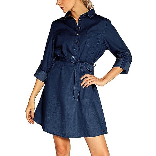 dcdb5d4c5ca Urban CoCo Women s Tie-Belt Shirtdress Denim Blouse Dress