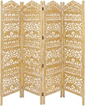 Deco 79 Traditional Carved Wood 4-Panel Room Divider, 72 H x 80 L, Weathered Gold Finish