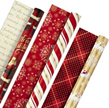 Hallmark Christmas Reversible Wrapping Paper, Classic Santa (Pack of 3, 120 sq. ft. ttl) Red and Gold Snowflakes, Stripes,...