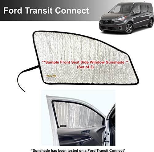 wholesale Side Window Front Seat Reflective Sunshade Custom Fit for 2014 2015 2016 2017 2018 2019 2020 2021 Ford Transit Connect, XL XLT Titanium Passenger new arrival Wagon Cargo Minivan UV outlet online sale Reflector (Set of 2) outlet online sale