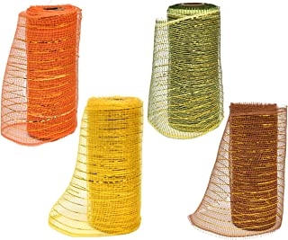 Thanksgiving Decorative Harvest Fall Mesh Wrap Rolls of Ribbon 5 Yards Each for Floral Arrangements Wreaths and Craft Party Supplies Decorations in Orange Green Brown & Yellow Colors by Gift Boutique