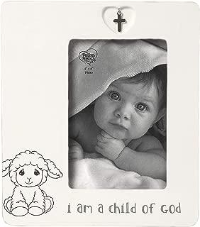 Precious Moments Child of God 4 x 6 Ceramic Baptism Charm 183434 Photo Frame, One Size, Multi