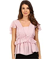 Adrianna Papell - Crinkle Chiffon Pleat Blouse