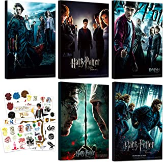 """Harry Potter Poster Set ~ Bundle Includes 5 Deluxe Harry Potter Movies Mounted Prints (8""""x11""""x.2"""") with Harry Potter Tempo..."""