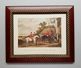 TheShoppe-USA Returning from The Hunt - English Fox Hunt Scene Picture - Beagle Horses Bugles Creek - Cherry Frame