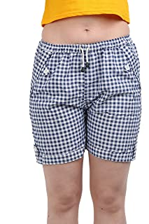 A P Creation // Women's & Girl's Short Boxer blue check. (Suitable :- Gym Shorts, Night Shorts, Running Shorts, Boxer Shorts, Sports Shorts, Cycling Shorts)