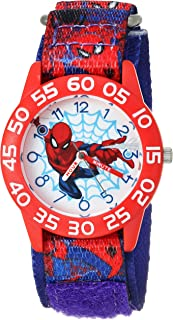 MARVEL Boys Spider-Man Analog-Quartz Watch with Nylon Strap, Blue, 16 (Model: WMA000190)