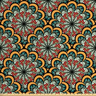 Ambesonne Mandala Fabric by The Yard, Flourishing Nature Design with Paisley Motif Bohemian Pattern, Decorative Fabric for Upholstery and Home Accents, 1 Yard, Marigold Seafoam