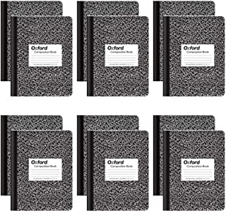 """Oxford Composition Notebooks, College Ruled Paper, 9-3/4"""" x 7-1/2"""", Black Marble Covers, 100 Sheets, 12 per Pack (63796)"""