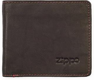 Borsa portamonete in pelle da uomo e da donna Zippo con chiusura lampo colore: marrone