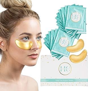(16 Pairs) 24K Gold Under Eye Mask: Hydrating Collagen Undereye Gel Patches - Anti Wrinkle Moisturizing Eye Pads - Brightening Skin Care Treatment for Puffy Eyes, Dark Circles, Wrinkles, Eye Bags
