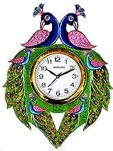 CapioArt Wooden Handpainted Peacock Wall Clock Antique Vastu Compliant Progressive Saraswati Vahan Design for Home Study Living Room & Office (Multicolor)