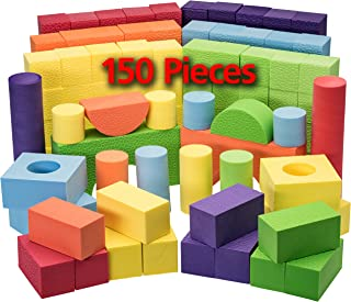 Dragon Too Foam Blocks and Stacking Blocks -Non Toxic- 150 Pcs Creative and Educational- with Reusable Zippered Bag