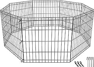 ZENY ペットサークル 小型犬 ゲージ エクササイズフェンス 8枚パネル入り 金属製 折りたたみ可能 屋内屋外用 組立簡単 トイレトレーニング 小型犬 猫 うさぎ 高さ61cm