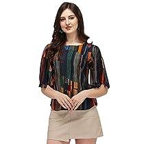 DHRUVI TRENDZ Women Printed Slub Rayon Top with Half Sleeves For Office Wear, Casual Wear, Under 399 Top