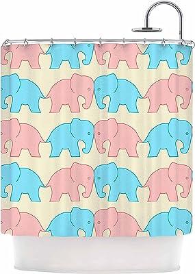 69 x 70 Shower Curtain Kess InHouse NL Designs Cute White Elephant Animals Blue