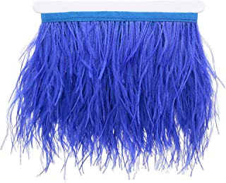 2 Meters Natural & Soft Ostrich Feathers Fringe Trims Ribbons - Used for Dress, Sewing, Lighting Decorations, Costumes etc (Royal Blue)