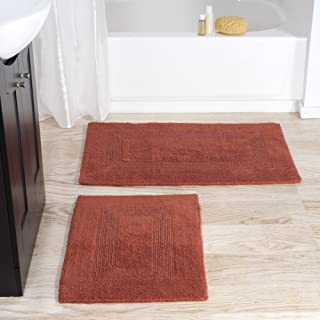 Cotton Bath Mat Set- 2 Piece 100 Percent Cotton Mats- Reversible, Soft, Absorbent and Machine Washable Bathroom Rugs By Lavish Home (Brick)