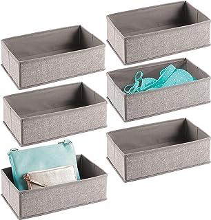mDesign boîte en Tissu (Lot de 6) – Caisse en Tissu utilisable dans l'armoire ou Le tiroir, boîte en Tissu en polypropylèn...