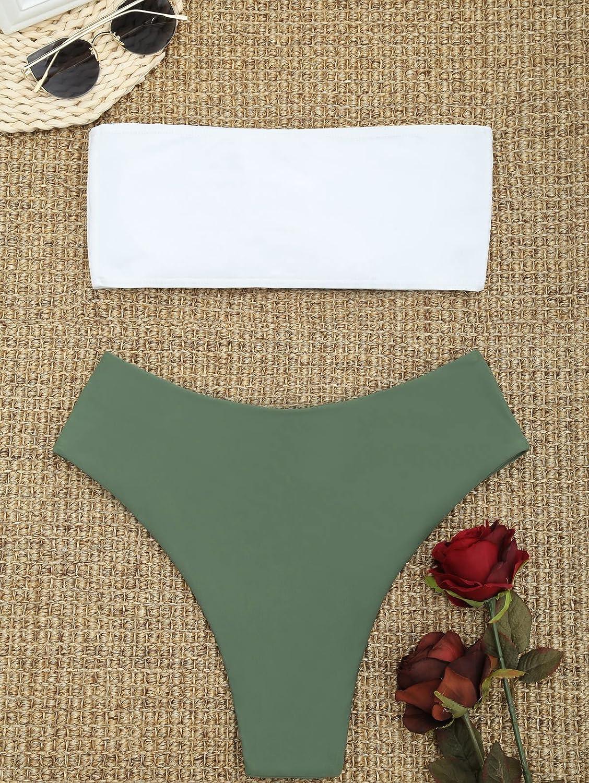 ZAFUL Women's Swimsuits Cactus Print Tube Strapless Bandeau Bikini Set