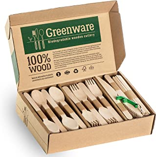 Disposable Wooden Cutlery Set | Biodegradable Compostable Flatware Combo Pack of 300-80 Forks, 80 Spoons, 40 Knives,100 Co...