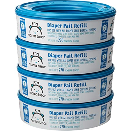 Amazon Brand - Mama Bear Diaper Pail Refills for Diaper Genie Pails, 1080 Count (4 Packs of 270 Count)
