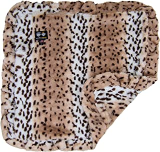 """product image for BESSIE AND BARNIE Aspen Snow Leopard (Ruffles) Luxury Ultra Plush Faux Fur Pet, Dog, Cat, Puppy Super Soft Reversible Blanket (Multiple Sizes), MD - 36"""" x 28"""""""