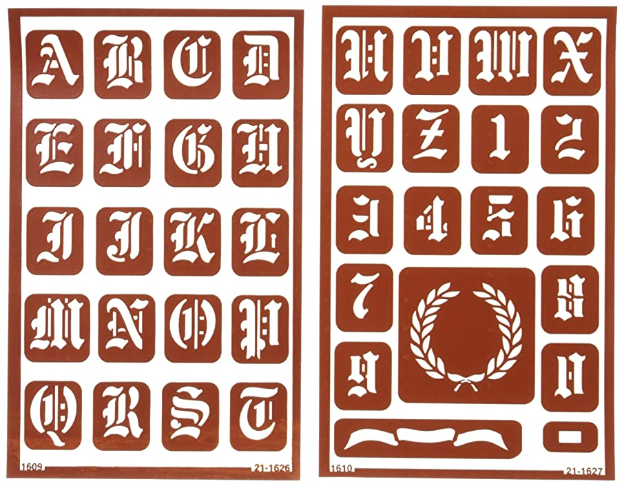 Armour Etch Over N Over Stencil, 1-Inch High Alphabet, 2 Pages