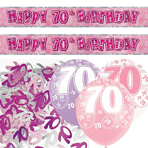 Unique BPWFA 4181 Glitz 70th Birthday Foil Banner Party Decoration Kit Pink