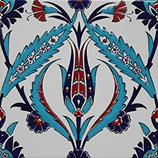 "Altin Cini Set of 10 Turkish Iznik Tulip & Floral Pattern 8"" x 8"" Ceramic Tile"